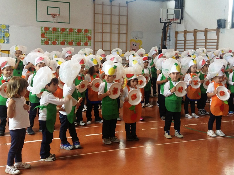 I bambini durante l'esibizione