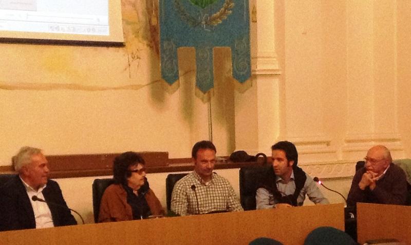 Da sinistra il sindaco Domenico D'Annibali, Giulia Lanciotti, Mario Mariani, Andrea Mariani, Walter Ferri