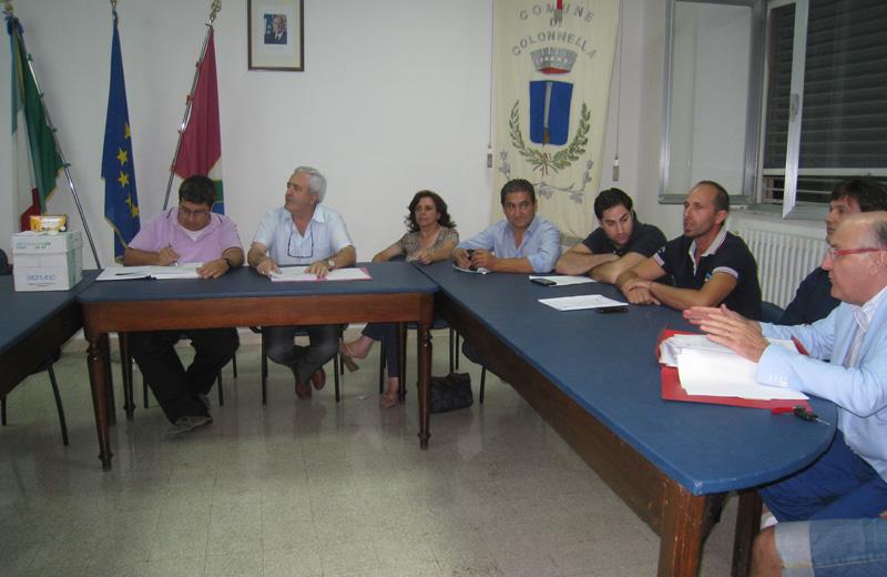 Il sindaco Pollastrelli e la maggioranza