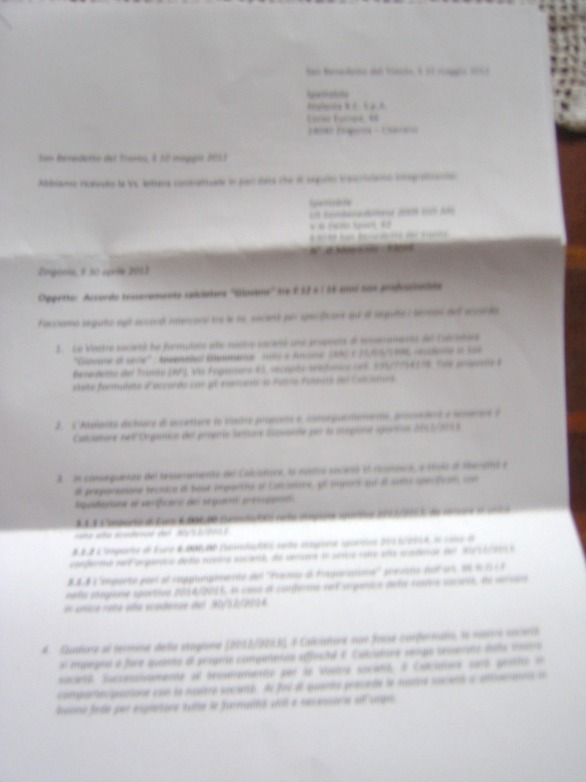 Il documento della cessione di Iovannisci all'Atalanta