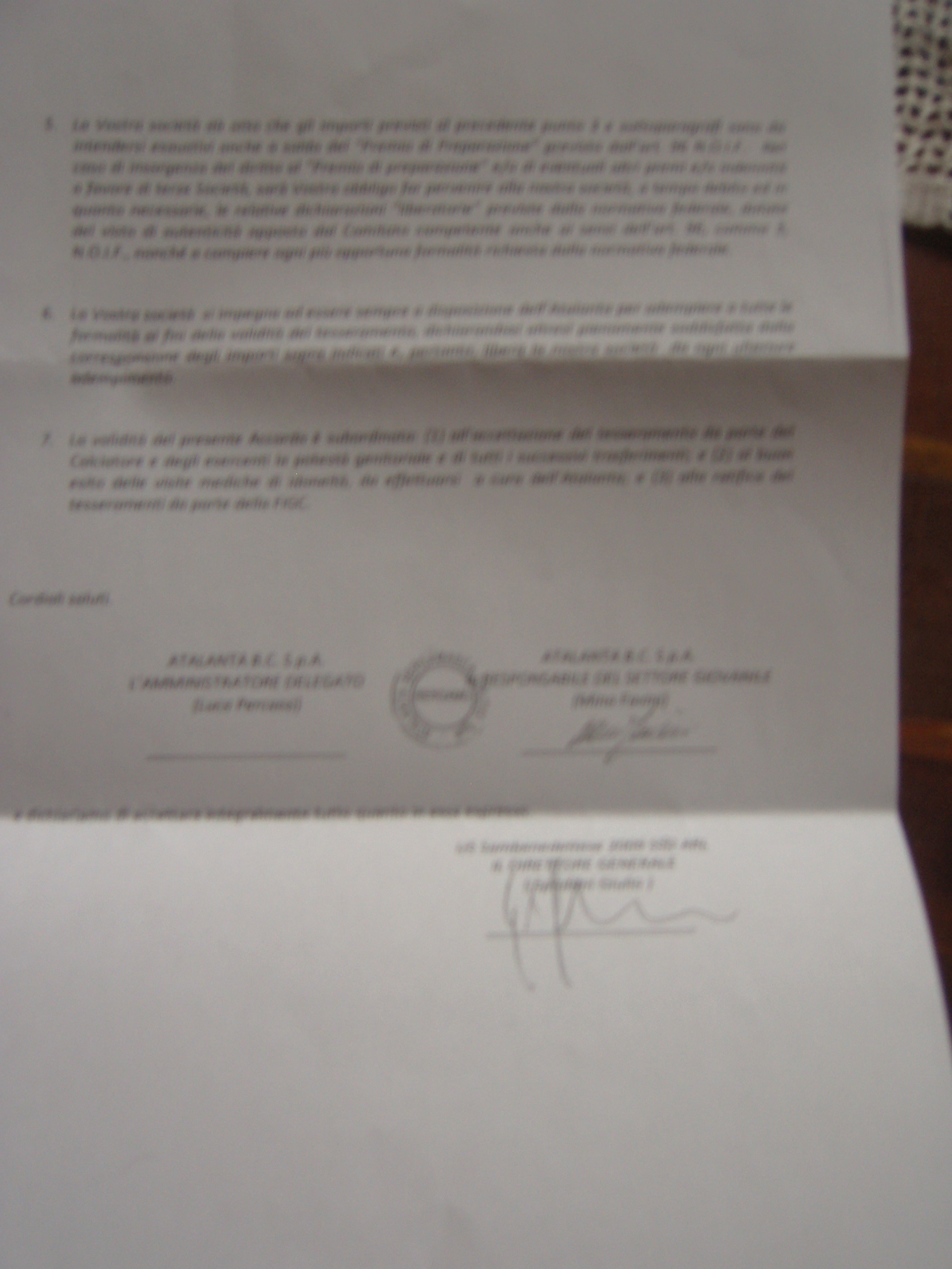 Il documento della cessione di Iovannisci all'Atalanta (2)