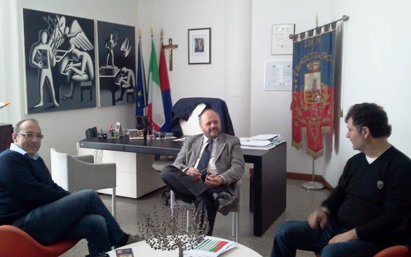 25 gennaio 2013, il sindaco Gaspari a colloquio con Claudio Bartolomei e Giulio Spadoni nel suo ufficio