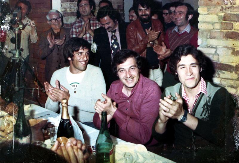 Festa Samb promozione in serie B 1973-1974-da sx, Mario Zazzetta (telecamera)