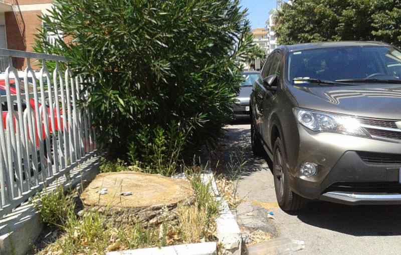 L'auto di Franca Simeni parcheggiata nella sosta riservata