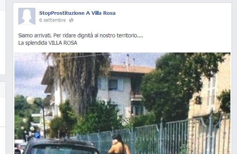 Il profilo Facebook StopProstituzione a Villa Rosa