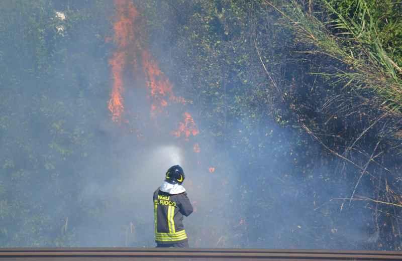 Incendio sulla ferrovia 3 (foto di Simona Ballatore e Nico Gaspari)