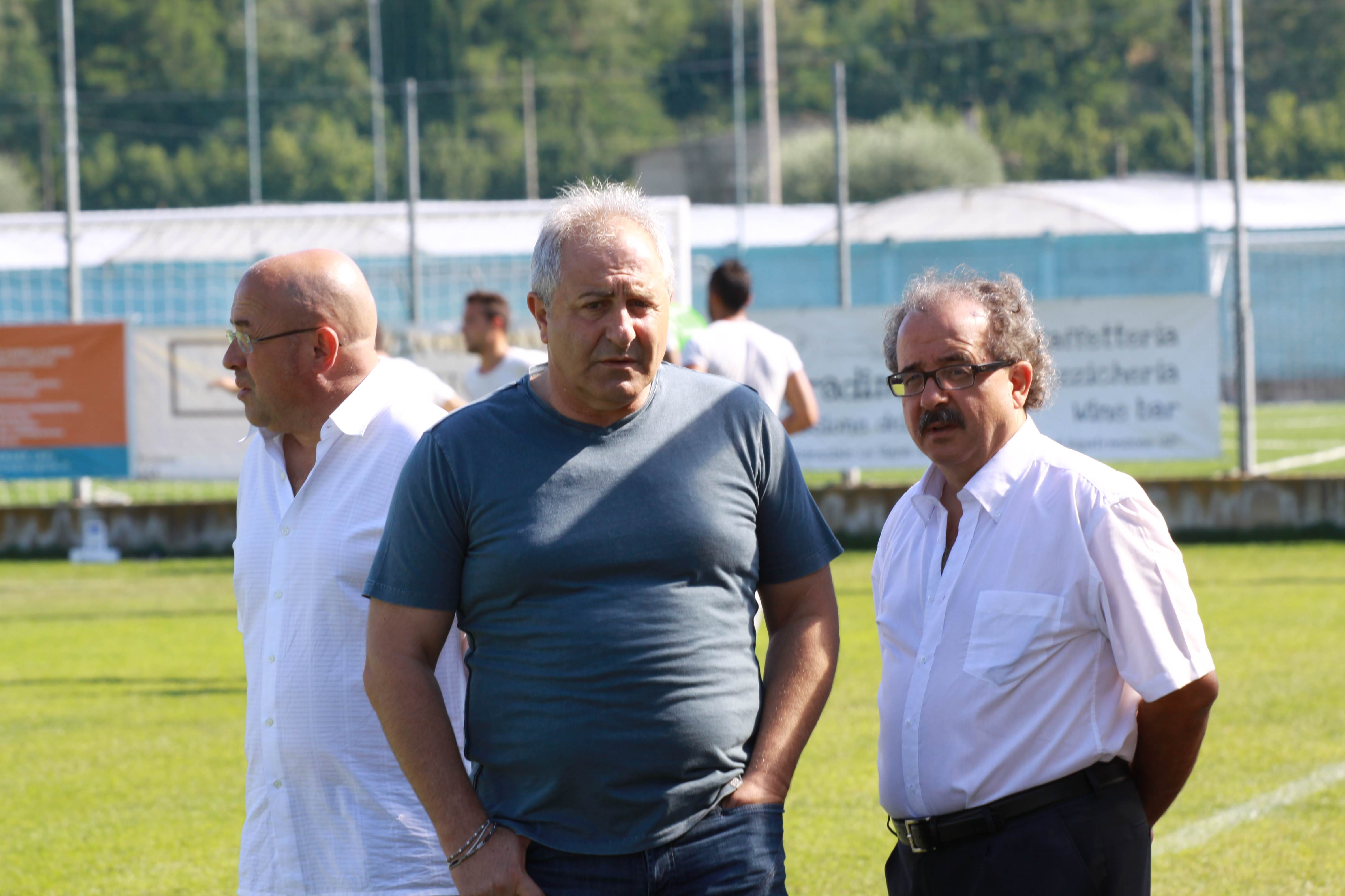 Gianni Moneti con il suo vice Rossi e il ds Arcipreti