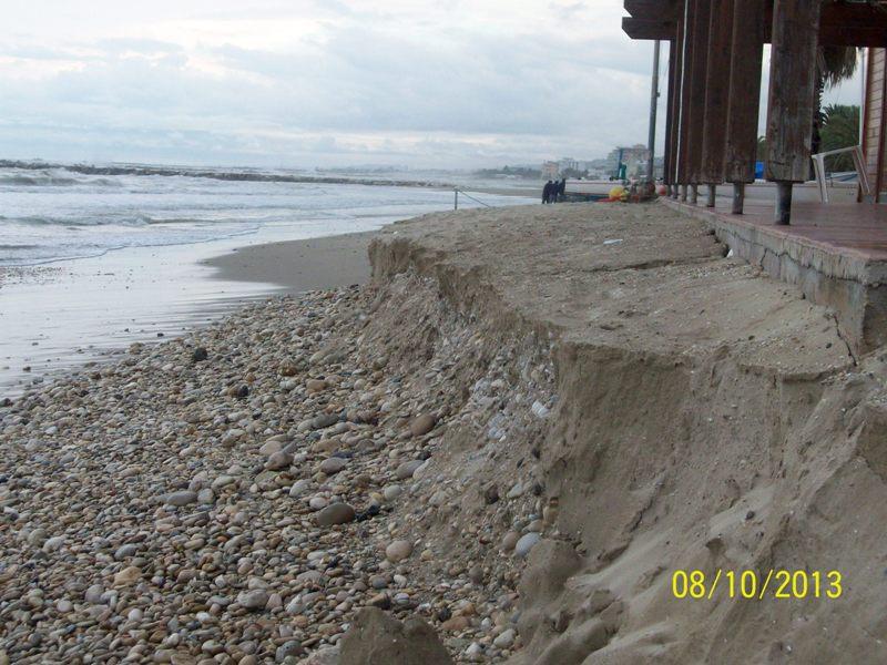 Erosione della spiaggia al circolo velico di Grottammare