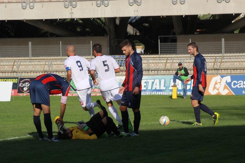 Samb-Montegiorgio, Tozzi Borsoi esulta per il gol del vantaggio