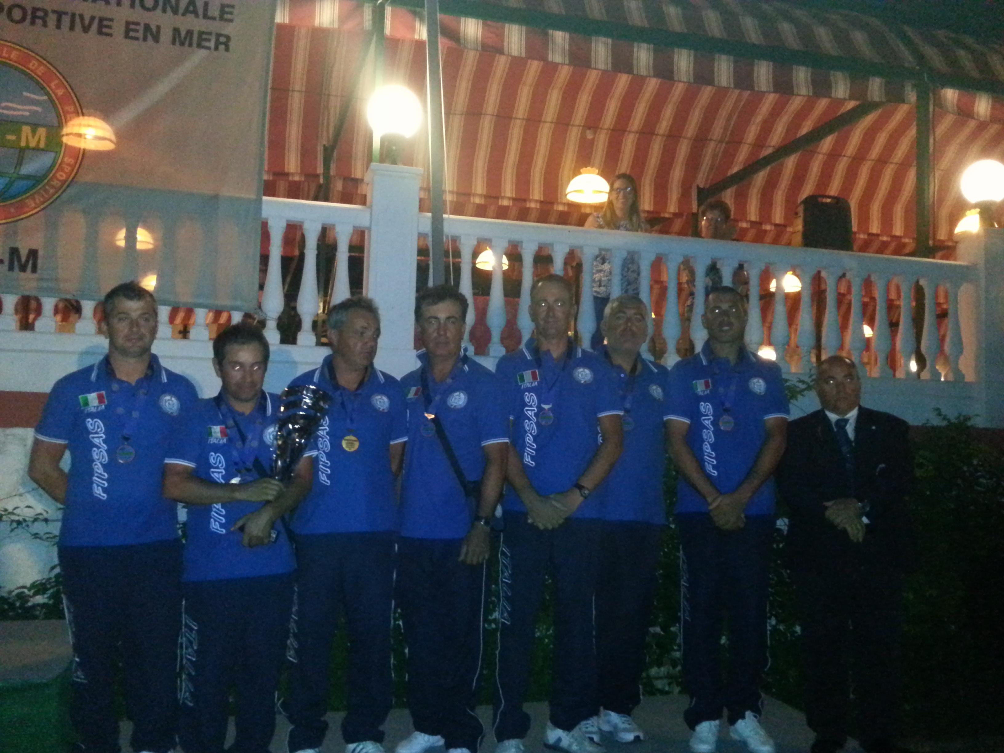 L'Italia B vincitrice del bronzo all'Europeo (Zefferino Guidi il primo da sinistra)