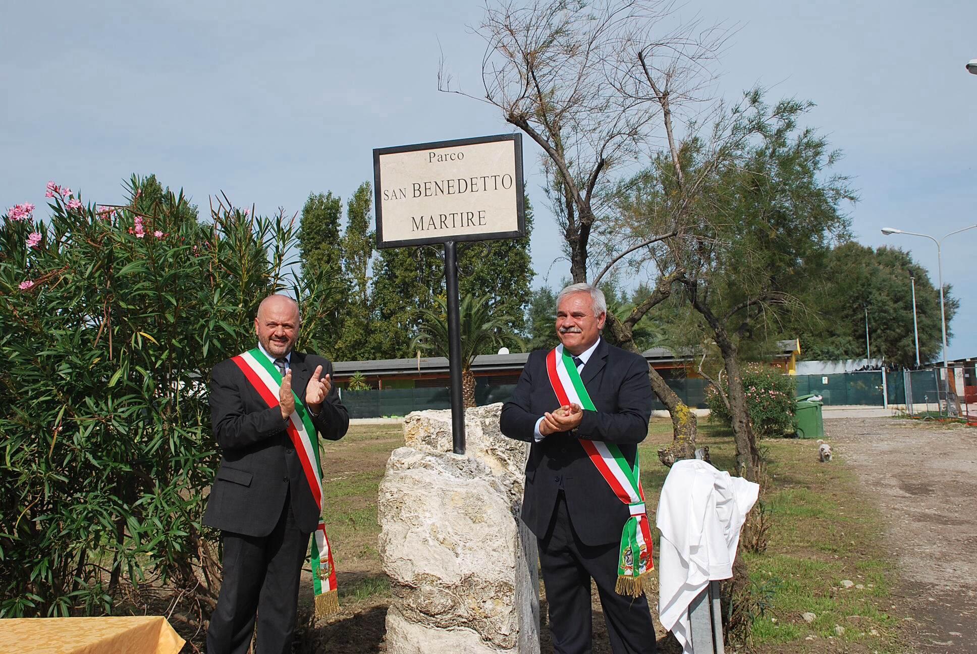 Parco San Benedetto Martire, l'inaugurazione coi sindaci di San Benedetto e di Cupra
