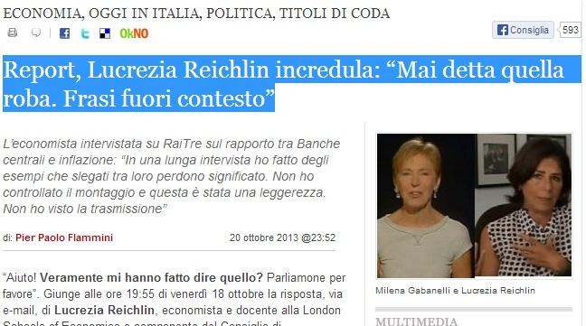 Report e Lucrezia Reichlin su Riviera Oggi