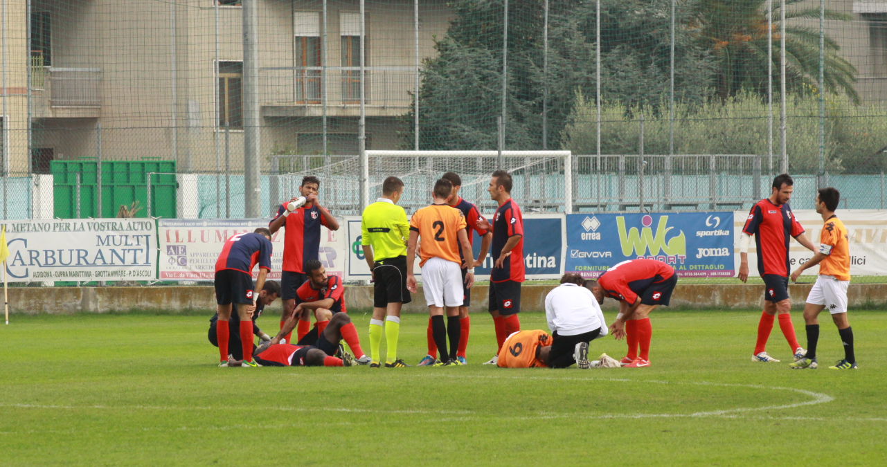 Portorecanati 0-2 Samb, scontro di gioco