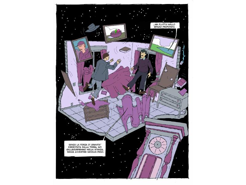 una delle tavole di Cosmicomic disegnate da Rossano Piccioni