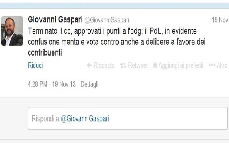 Tweet di Gaspari sull'Imu