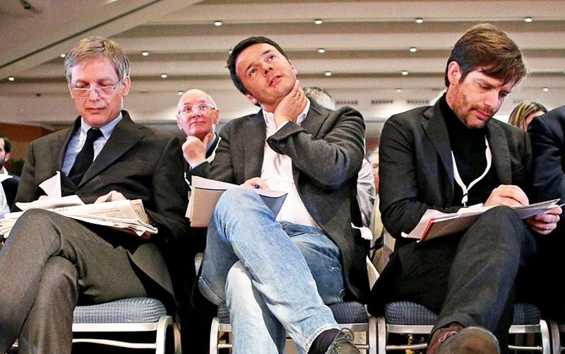 Da sinistra <gianni Cuperlo, Matteo Renzi, Giuseppe Civati (Fonte Formiche.net)