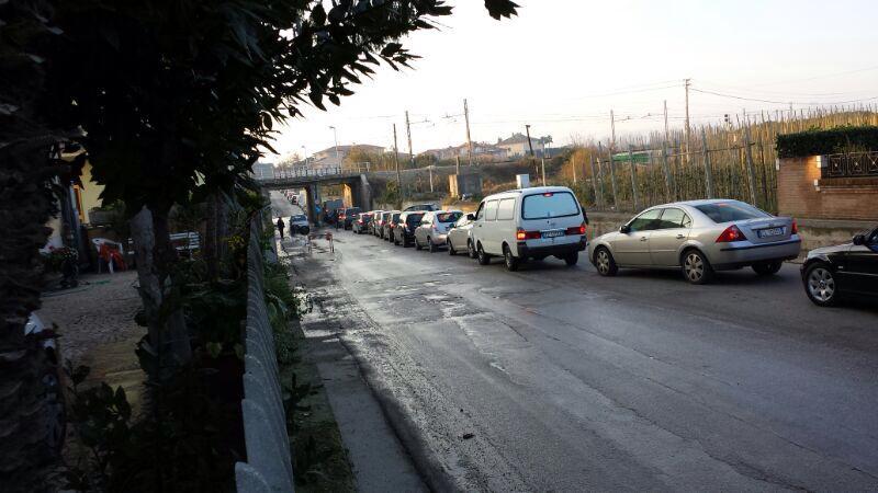 Forconi, traffico bloccato a Martinsicuro in direzione nord, pomeriggio del 10 dicembre