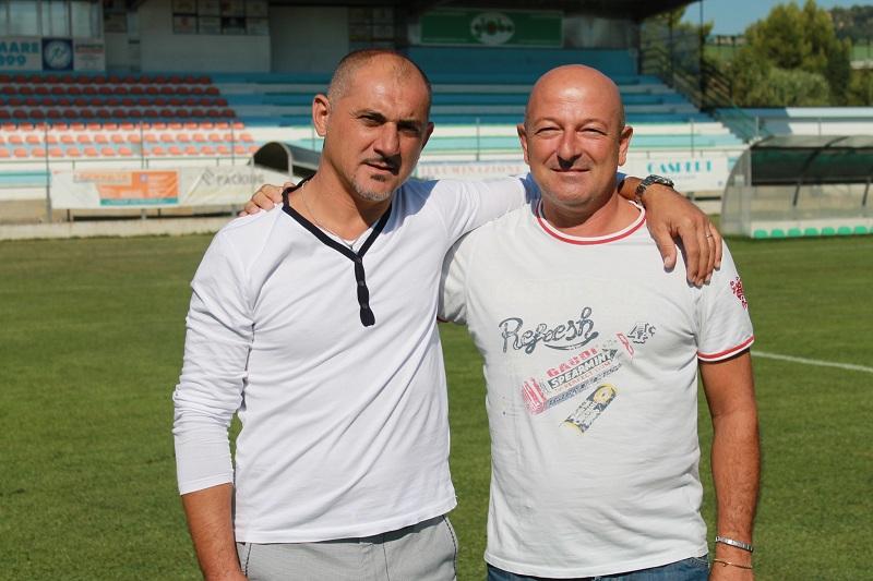 Il Diesse del Grottammare calcio Sebastiano Vecchiola ed il presidente Giuseppe Cocci