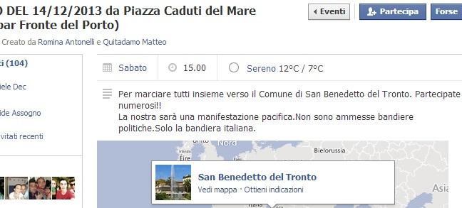 La pagina Facebook che annuncia la manifestazione del 14 dicembre a San Benedetto