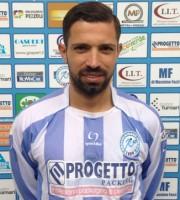L'attaccante del Grottammare Saverio Mastrojanni (al 5° centro stagionale) autore del gol partita che è valso i 3 punti nella gara interna contro la Cagliese