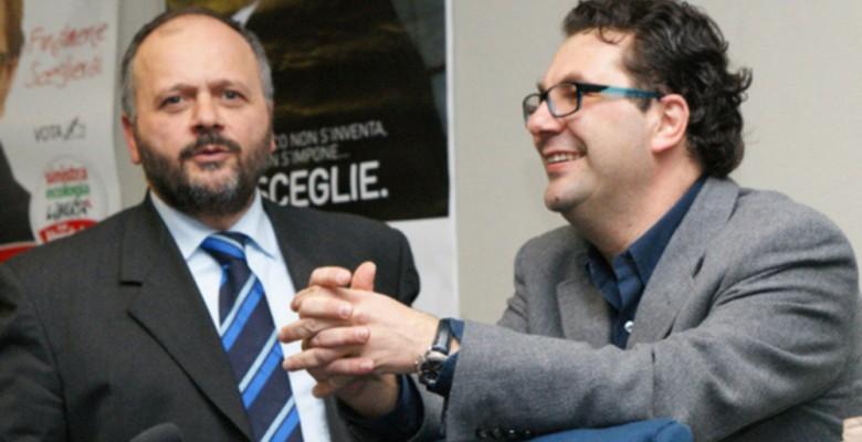 Gaspari e Spadoni durante le primarie del 2011