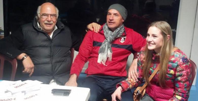 Mister Mosconi assieme alla figlia e al giornalista Pasquale Bergamaschi al termine della vittoria sul Grottammare
