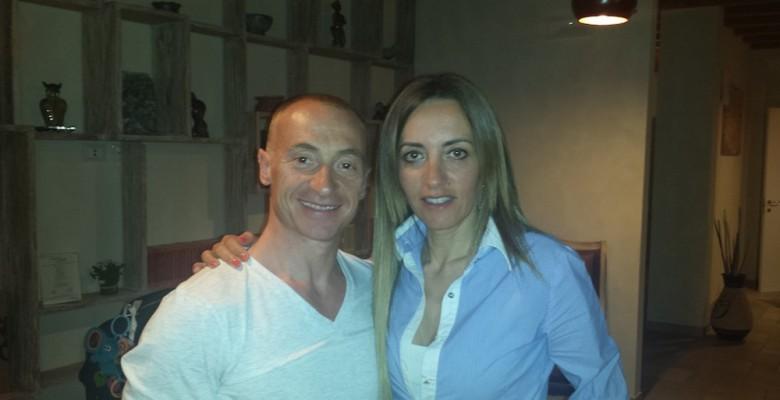 La presidentessa Sonia Roscioli con il campione Yuri Chechi