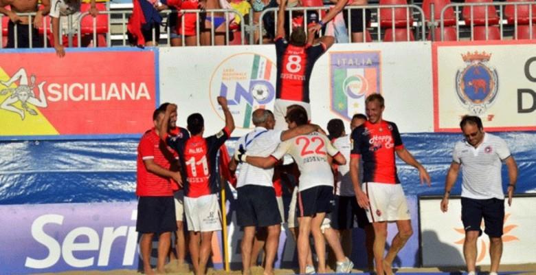 Esultanza dei rossoblù a Catania