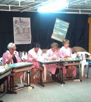 Uno spettacolo della compagnia Fuori di Testo allo chalet Brasil