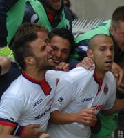 La gioia di Napolano e Carteri sul gol che Davide realizzò contro l'Ancona in Coppa