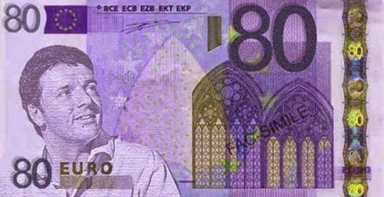 Renzi con 80 euro, satira sul web