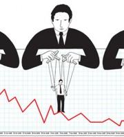 Vignetta sulla Troika che muove i fili dei governi europei