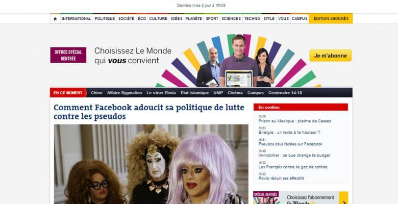 L'Home page di LeMonde