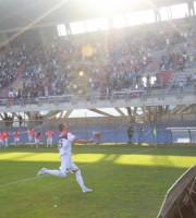 L'esultanza di Carteri dopo il gol al Termoli