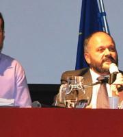 Germano Polidori e Giovanni Gaspari nel 2010, quando, insieme, esposero alla cittadinanza il progetto della Megavariante, al Teatro Concordia, già un superamento del lavoro di Zazio