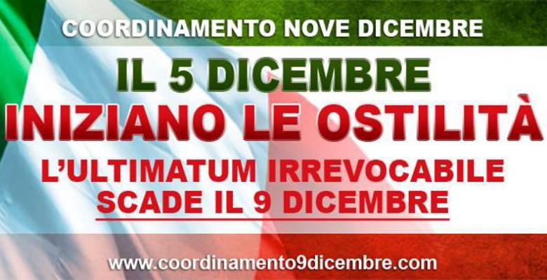 Un manifesto del coordinamento 9 dicembre
