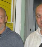 Michele Rossi in compagnia di Diego Bianchi, giornalista e conduttore di Gazebo