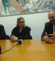 Simona Gaspari, vedova di Livio Capriotti, con Fabio Urbinati e Giovanni Gaspari