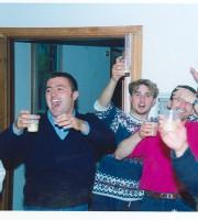 La squadra a cena. Da sinistra Piergallini, Amabili, Marconi mister Piccorossi
