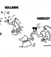 Le Pen, Hollande, Sarkozy vignetta di Evo