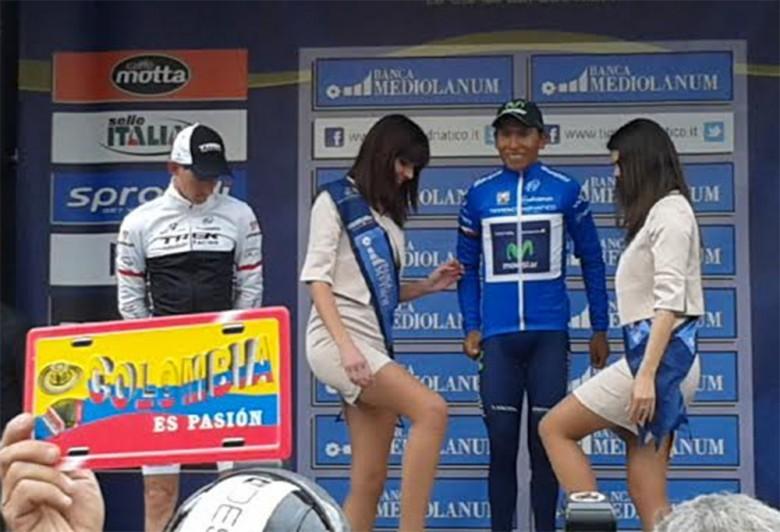 Quintana vincitore della Tirreno-Adriatico a San Benedetto, tifosi della Colombia sotto il palco