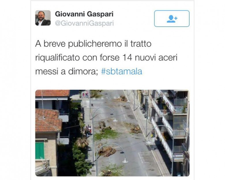 Tweet di Gaspari su via Ugo Bassi