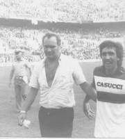 Nedo Sonetti con Marco Rossinelli dopo il pareggio della Samb a San Siro (2-2 col Milan)