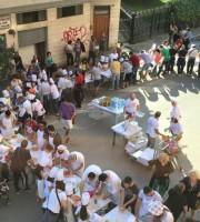 Pizza in piazza con papà a San Filippo Neri (foto tratta dalla pagina Fb Conad Private San Benedetto)