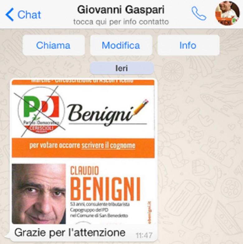 I messaggi di Gaspari in sostegno di Claudio Benigni