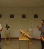 Stefano Stracci con l'opera vincitrice