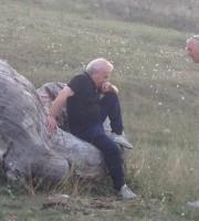 Fedeli e l'ex rossoblu Vincezo Minguzzi a colloquio dopo Samb-Monopoli
