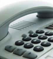 White desktop phone for business