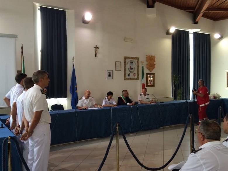 la cerimonia per il passaggio di consegne tra Paolo Vantaggiato e Vincenzo Stefania