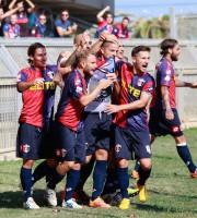 La gioia di Salvatori dopo il gol al Castelfidardo